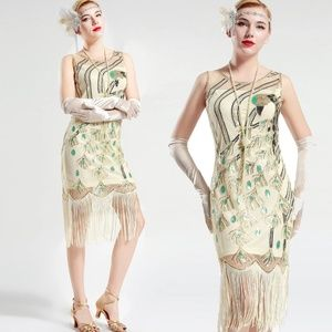 Peacock Sequin Fringed Party Flapper Dress